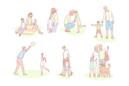 Family, childhood, motherhood, fatherhood set concept. Young parents with happy children spend time together on holiday. Collection of loving families, fathers, mothers, kids. Fathersday mothers day