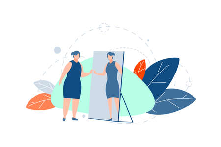 Loss of weight, motivation, diet concept. Fat obese thick woman looking in mirror, decided to sit on diet. Motivation to look thin or slim. Illustration of loosing weight. Simple flat vector Illustration