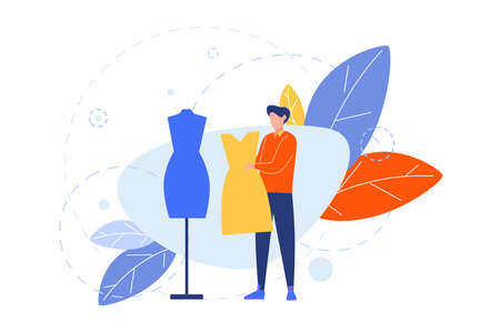 Creative profession, hobby, clothier concept. Illustartion of man, boy clothier, couturier, atelier with dress near mannequin. Art image of peoples hobby, occupation. Creative lifestyle. Flat vector