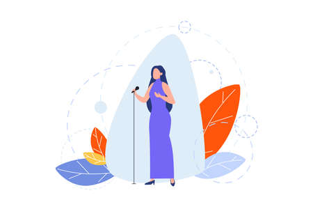 Singing, hobby, creative occupation concept. Illustration of woman girl singer, celebrity star with microphone on scene. Stage perfomance. Peoples hobby and profession, creative lifestyle. Flat vector