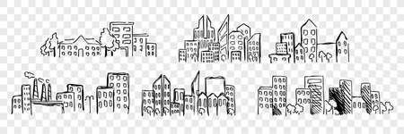Hand drawn buildings, skyscrapper set collection Ilustração