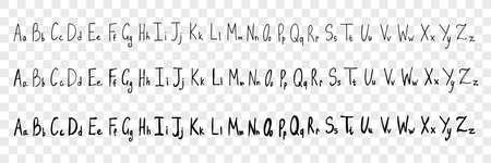 Hand drawn latin letters, alphabet set collection. Pen or pencil, ink hand drawn latin letters. Sketch of english alphabet isolated on transparent background. Vector illustration