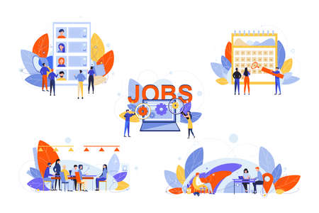 Recruitment, hr management, job interview, business set concept. Businesspeople men women recruiters on job interview in office. Online search for free vacancies. HR management. Making cv, portfolio.