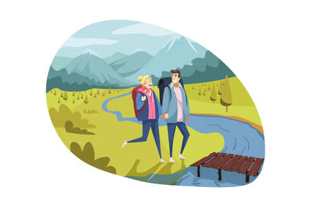 Travelling couple, tourism, nature, hiking concept
