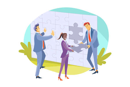 Team, teamwork, partnership, cooperation, business concept. Businessmen women colleagues clerks managers partners coworkers collaborate and collect jigsaw puzzle together. Teamwork and team support. Vektorové ilustrace