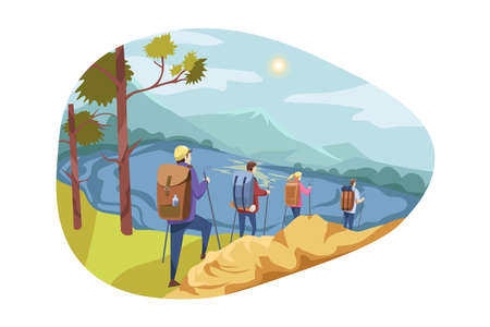 Travelling team, tourism, nature, hiking concept. Team, group of travellers, men woman hikers going down hill to mountain lake. Extreme backpacking with active recreation, holiday or vacation trip.