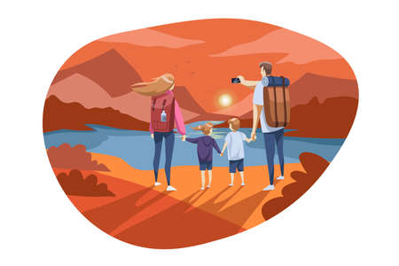 Travelling, family tourism, nature, hiking concept