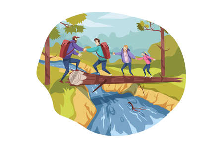 Travelling team, teamwork, tourism, nature, hiking concept. Team, group of travellers, men woman hikers cross river on timber together. Extreme backpacking with teamwork on vacation trip or holiday.