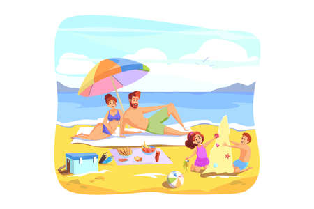 Summer vacation, rest, family holiday concept Ilustrace