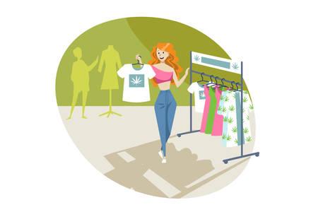 Marijuana, clothing, shopping, merchandise, cannabis concept Stock Illustratie