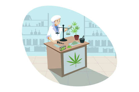 Marijuana, cannabis, medical research, analysis, drug concept. Ilustrace