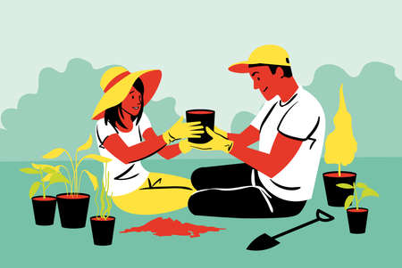 A couple doing gardening Ilustrace