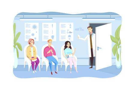 Patient, examination, queque, medicine concept