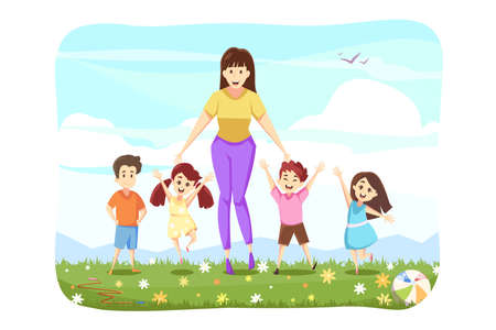 Woman standing with kids concept. Group of happy smiling schoolchildren or pupils boys girls and young female teacher standing together at field. Active summer recreation on weekend and leisure time. Ilustrace