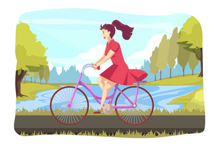 Cycling, sport, biking, leisure time concept. Young happy woman or girl character riding bicycle at park or square. Summer nature outdoor activity and healthy active lifestyle at weekend illustration.