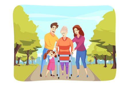 Care, family, support, health walking concept Ilustrace