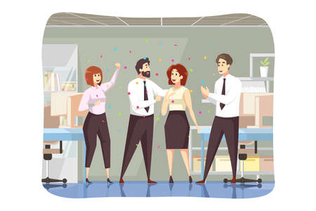 Success, business, congratulation, goal achievement concept. Man boss leader team of colleagues coworkers congratulate successful businesswoman employee together. Reaching purposes and accomplishment. Ilustrace
