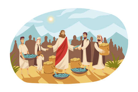 Christianity, religion, Bible concept. Saturation feeding crowd of five thousand people with two fish and five loaves by Jesus Christ son of God. New Testament biblical series cartoon illustration.