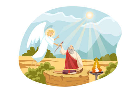 Religion, christianity, Bible concept. Old Testament biblical Genesis religious series. Abraham christian jewish character sacrifices son Isaac for God as test of faith angel comes for stopping him. Ilustrace