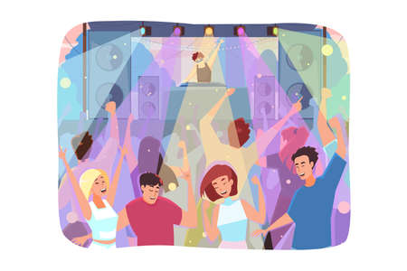 People dancing and parting in a club Ilustrace