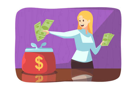 Business, saving, deposit concept. Young happy woman girl making financial investment payment and putting cash dollars in big wallet. Accumulation of money earning currency and purchasing illustration