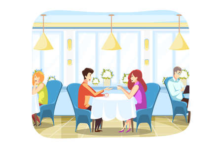 Couple, love, meeting, communication concept.Young boyfriend and girlfrined man and woman sitting in cozy cafe drinking coffee tea and talking together. Romantic date for lovers in informal atmosphere Ilustrace