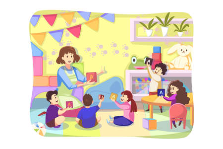 Game, care, kindergarten concept. Young woman teacher playing letter cubes with happy preschoolers kids boys girls together in playroom. Caring about children and education or teaching illustration. Ilustrace