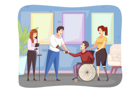 Meeting, disability, healthcare, medicine, cooperation concept. Young disabled handicapped people men women in wheelchair and prostheses standing shaking hands together. Business project agreement.