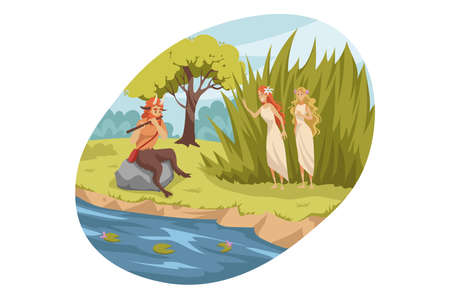 Mythology, Greece,   legend, religion concept. Ancient Greek religious myths illustration series. Satyr demon from suite of Dionysus playing flute for two young girls nymphes nature patroness. Ilustrace