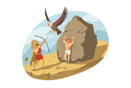 Mythology, Greece, Heracles, religion concept. Hercules son of Zeus demigod killing eagle pecking Prometheus liver or liberation of Titan. Ancient Greek religious myths illustration series. Ilustrace