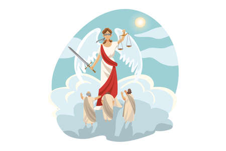 Mythology, Greece,  legend, religion concept. Ancient Greek religious myths illustration series. Themis blind olympian goddess of justice judging people impartially holding sword and scale.