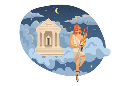 Mythology, Greece,  legend, religion concept. Prometheus titan stealing divine fire from forge god Hephaestus giving mortal people as gift. Ancient Greek religious myths illustration series. Ilustrace