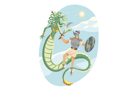 Mythology, Greece,  legend, religion concept. Mythological hero Perseus son of Zeus fighting with monster Gorgon with magic shield and sword. Ancient Greek religious myths illustration series.