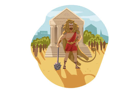 Mythology, Greece,   god, Heracles, religion concept. Ancient Greek religious myths illustration series. Hercules hero son of Zeus demigod stands with club and nemean lion skin as First Feat.