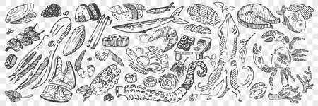 Hand drawn sea food doodle set Stock Illustratie