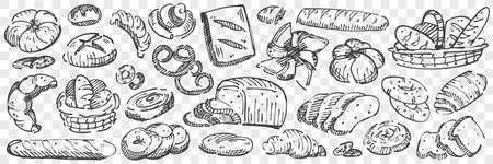 Hand drawn bread doodle set