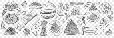 Hand drawn pasta doodles set Vector Illustratie