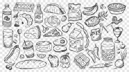 Hand drawn meal doodles set