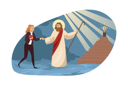 Religion, christianity, business, support, success concept Stock Illustratie