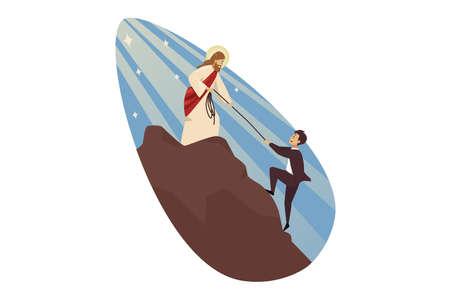 Teamwork, goal achievement, success, religion, christianity, support, business concept