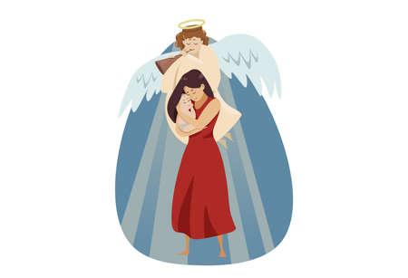 Motherhood, religion, christianity, blessing, love concept Vecteurs