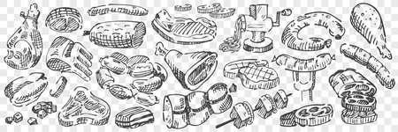 Hand drawn meat doodle set