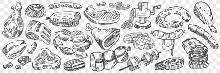 Hand drawn meat doodle set 向量圖像
