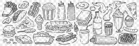 Hand drawn junk food doodle set