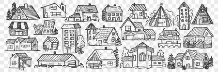 Hand drawn buildings doodle set.