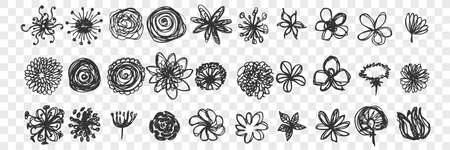 Hand drawn flowers doodle set