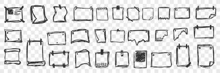 Hand drawn notepads doodle set