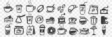Hand drawn cups and pastry doodle set