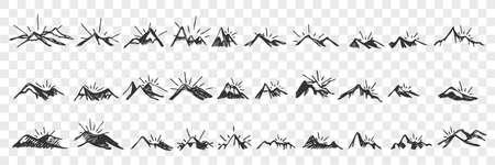 Hand drawn mountain peaks doodle set