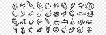 Hand drawn food doodle set 向量圖像